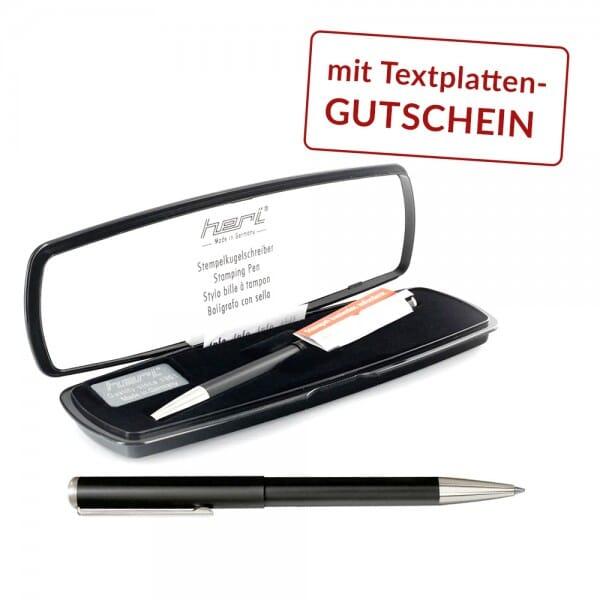 Heri Stempelkugelschreiber mit Textplattengutschein (33x8 mm - 3 Zeilen)