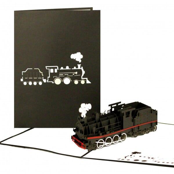 Colognecards Pop-Up Karte Eisenbahn schwarz