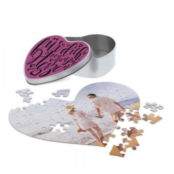 Individuelles Herzpuzzle inkl. Herzdose (Druckfläche 200x250 mm - 63 Teile)