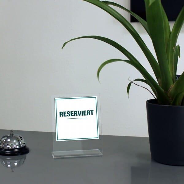 """Acrylaufsteller """"reserviert"""" - schlicht (ca.100x150 mm)"""