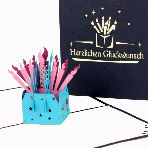 Colognecards Pop-Up Karte Kerzen Herzl. Glückw.