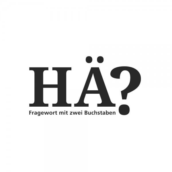 Edelstahlbecher Fragewort mit zwei Buchstaben