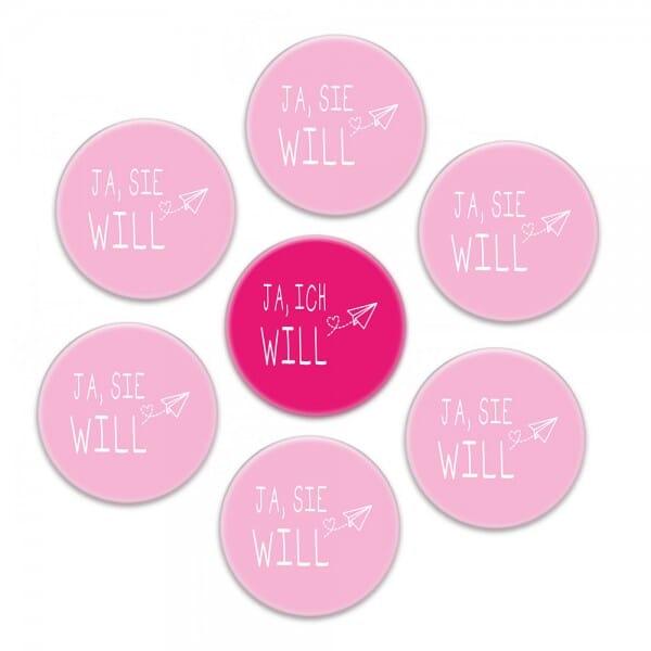 """Buttons SET Junggesellinnenabschied """"JA, ICH WILL"""" (ø 37 mm rund - 7 Stück)"""