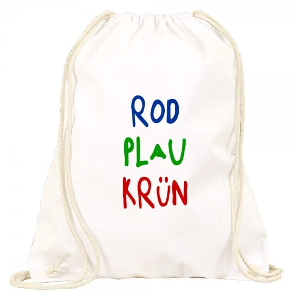 "Turnbeutel-Rucksack ""rod plau krün"" (Abdruckmaße 30x35 cm)"