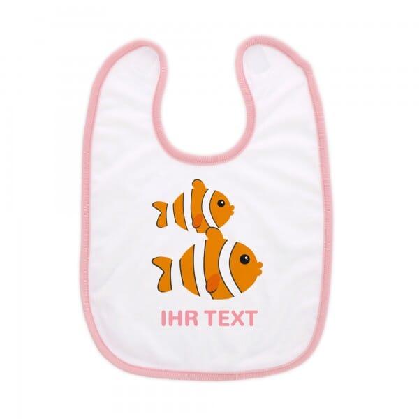 """Babylätzchen mit Klettverschluss """"Fische"""" inkl. individueller Druck"""