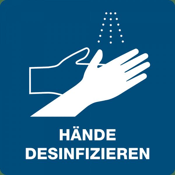3 Stück Hinweis-Hinterglas-Aufkleber - Hände desinfizieren (150x150 mm)