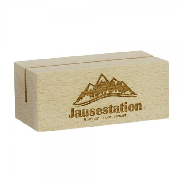 Menükartenhalter quadratisch Holz (Gravurmaß 100x40 mm)