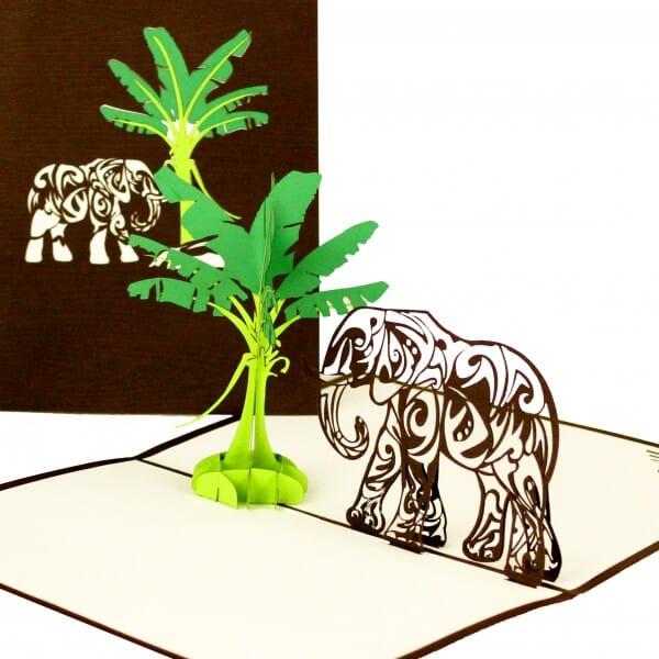Colognecards Pop-Up Karte Elefant & Bananenbaum