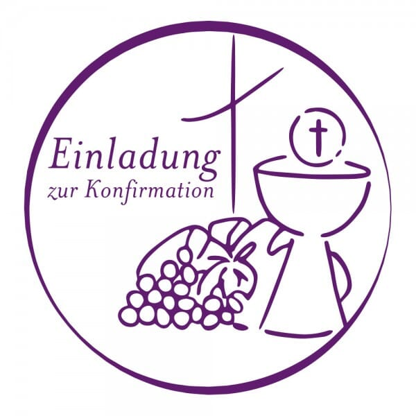 Geburt-Taufe und Kirche Holzstempel - Einladung zur Konfirmation (Ø 40 mm)