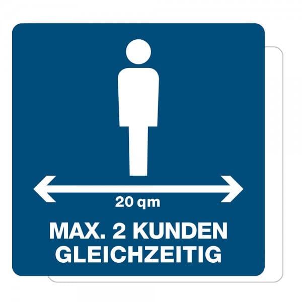 3 Stück Hinweis-Aufkleber - Max. 2 Kunden gleichzeitig (150x150 mm)