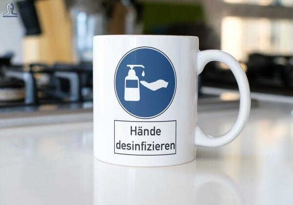 """Keramiktasse """"Hände desinfizieren"""""""