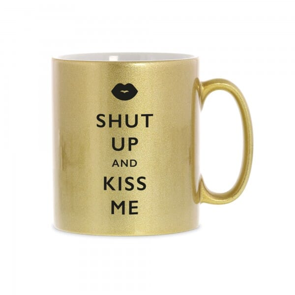"Keramiktasse ""Shut up and kiss me"""