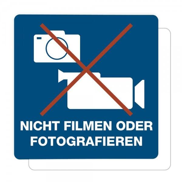 3 Stück Hinweis-Aufkleber - Nicht Filmen oder Fotografieren (150x150 mm)