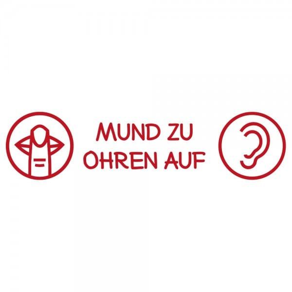Pädagogik Holzstempel - Mund zu Ohren auf (70x20 mm)