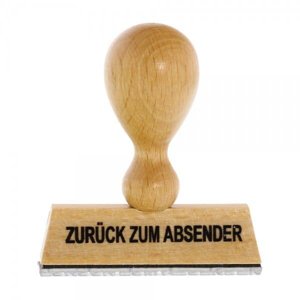 Holzstempel ZURÜCK ZUM ABSENDER (60x10 mm - 1 Zeile) bei Stempel-Fabrik