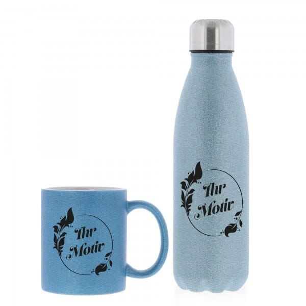 SET aus Keramiktasse und Isolierflasche individuell bedruckt in Glitzer-Farben