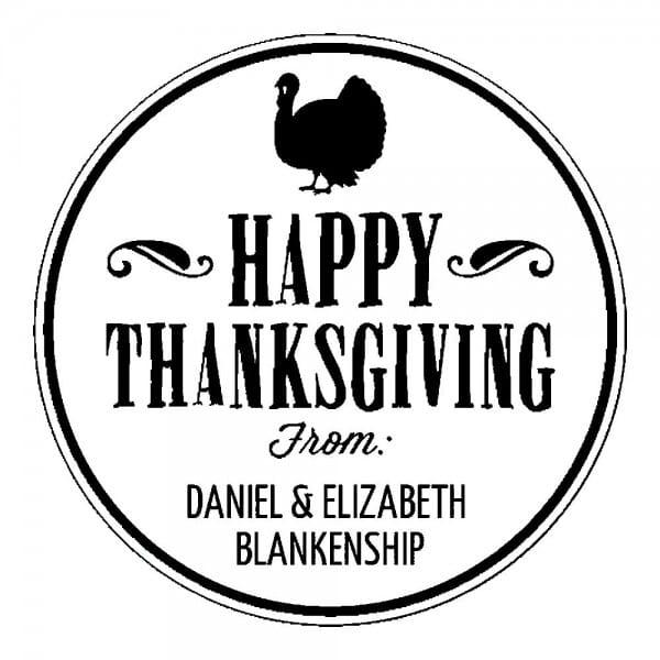 Monogrammstempel rund - Happy Thanksgiving