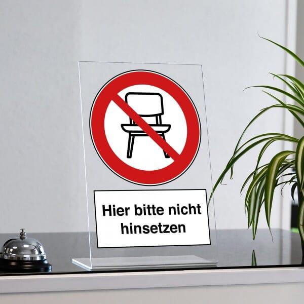 """Acrylaufsteller """"Hier bitte nicht hinsetzen"""" (ca. 200x300 mm)"""