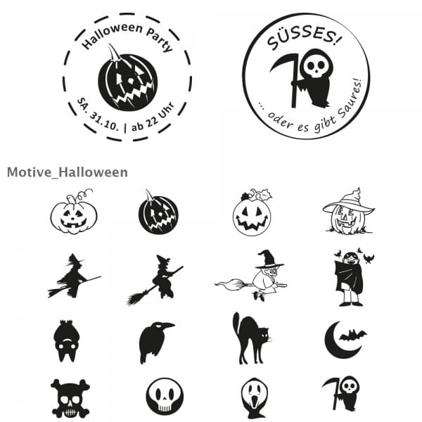 Halloween Holzstempel / Selbstfärber (Ø 40 mm - 2 Zeilen)