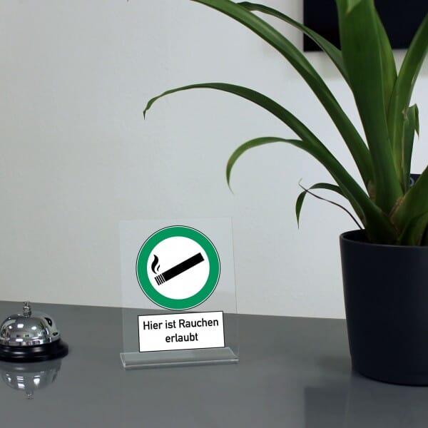 """Acrylaufsteller """"Hier ist rauchen erlaubt"""" (ca.100x150 mm)"""