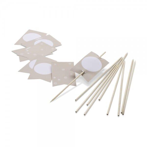 NIO Fahnen + Holzstäbchen Craft (82x50 /200 mm - 10 Stück)