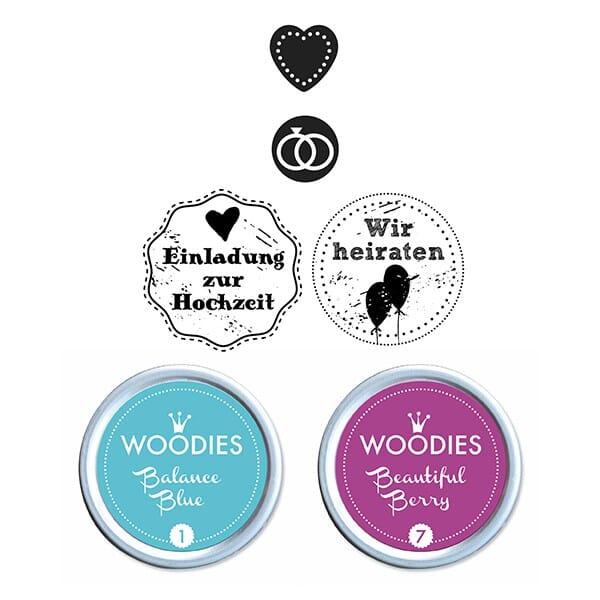 Woodies Stempel SET - Hochzeit WS0006