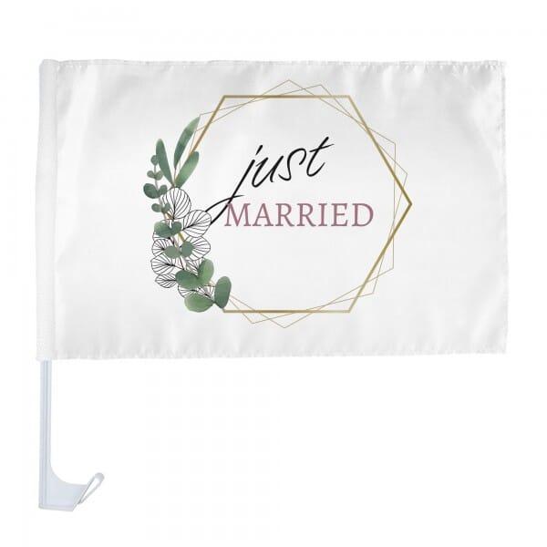 """Autofahne Hochzeit """"just married"""" mit Halterung (Eukalyptus - 400 x 300 mm)"""