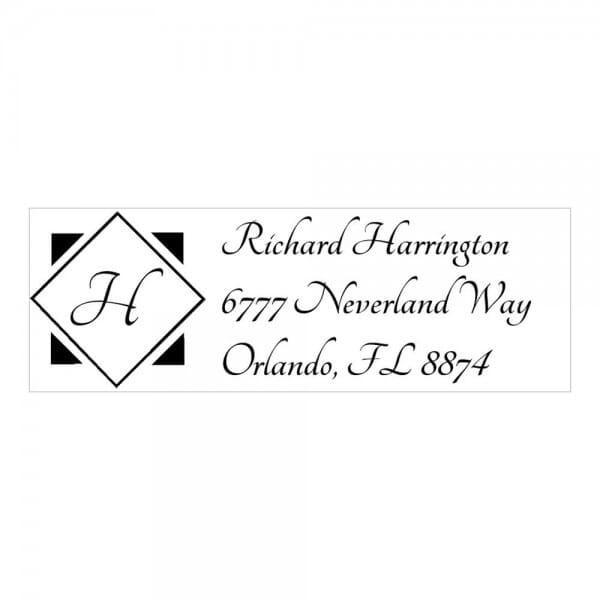 Monogrammstempel rechteckig - Adresse und Initialen in Diamant