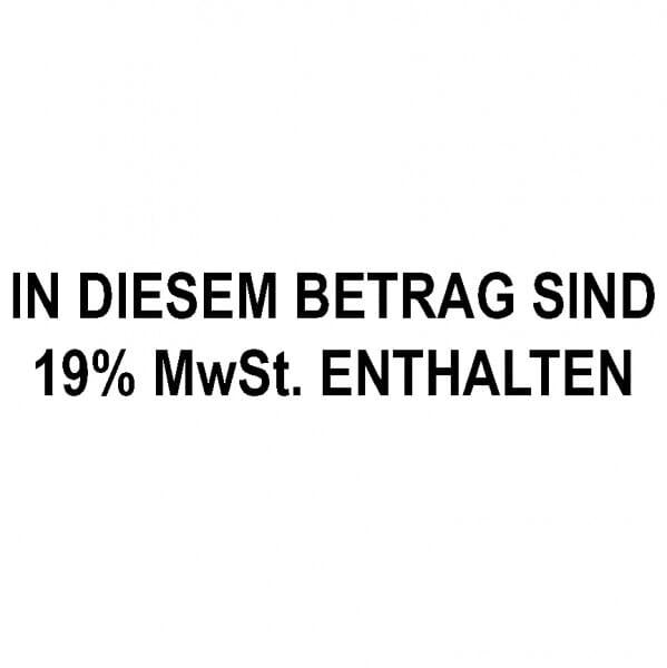 """Dormy Imprint 11 Lagertext """"In diesem Betrag sind 19% MwSt. enthalten"""" (37x14 mm - 1 Zeile)"""