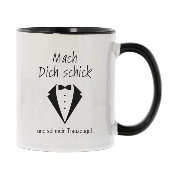 """Keramiktasse """"Mach dich schick und sei mein Trauzeuge"""""""