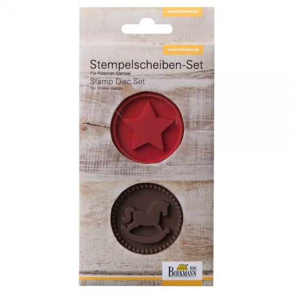 Stempelscheiben Set für Keksstempel - Schaukelpferd und Stern ( bei Stempel-Fabrik