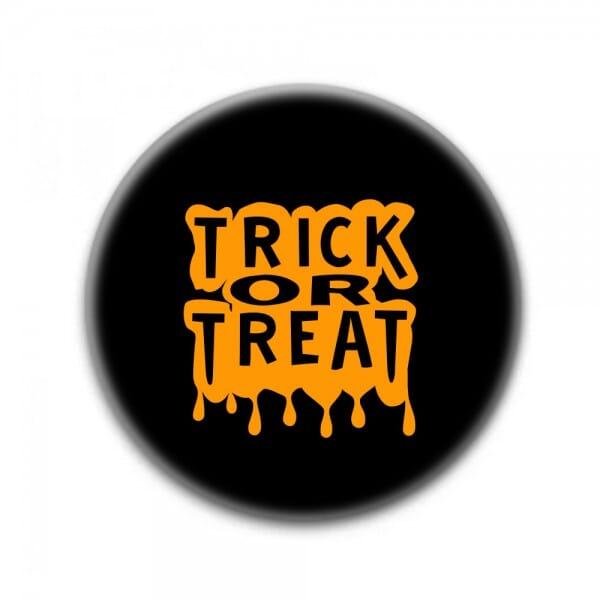 """Buttons für Halloween """"Trick or Treat"""" (ø 37 mm rund - 10 Stück)"""