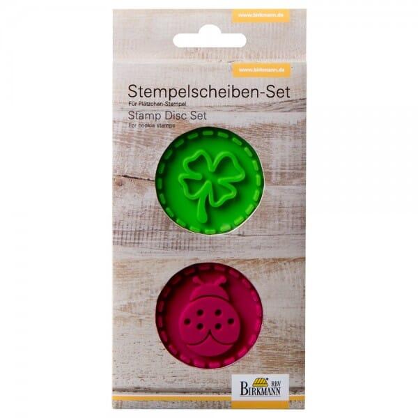 Stempelscheiben Set für Keksstempel - Marienkäfer und Kleeblatt (Ø50 mm)