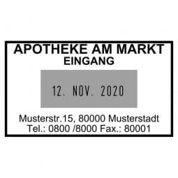 Apothekendatumstempel / Datumstempel (49x28 mm - 4 Zeilen)