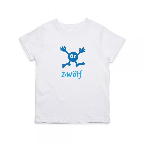 """Kinder T- Shirt zum 12.Geburtstag """"zwölf"""""""