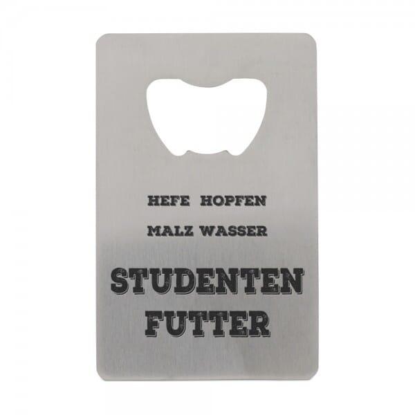 """Edelstahl Flaschenöffner für Studenten """"Studentenfutter"""""""
