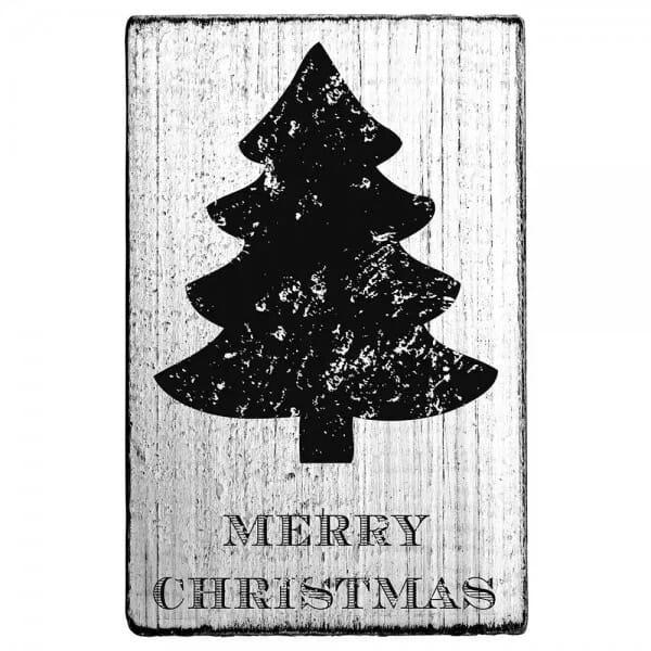 "Vintage Stempel ""Merry Christmas"" - Tannenbaum"
