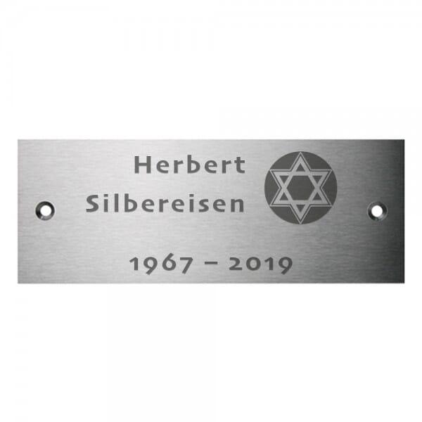 Gedenkschild aus Edelstahl (Gravurmaß 120x50 mm - 7 Zeilen)