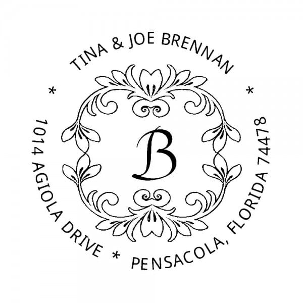 Monogrammstempel rund - Adresse mit Blumenmotiv