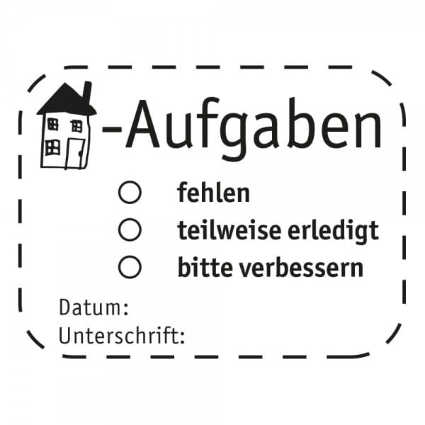 Pädagogik Holzstempel - Hausaufgaben (40x30 mm)