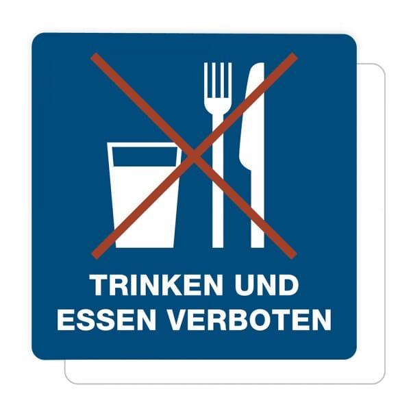 3 Stück Hinweis-Aufkleber - Trinken und Essen verboten (150x150 mm)