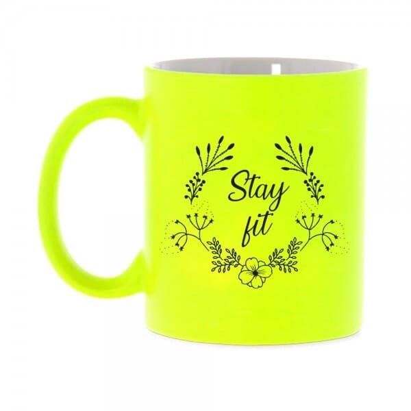 """Neon Tasse mit Motiv """"stay fit"""""""