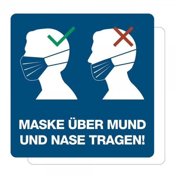 3 Stück Hinweis-Aufkleber - Maske über Mund und Nase tragen (150x150 mm)