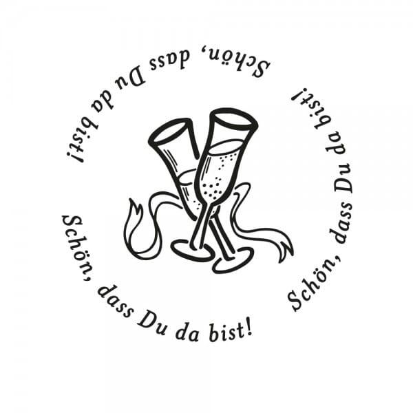 Hochzeitsstempel – Schön, dass Du da bist - Sektgläser (Ø 50 mm)