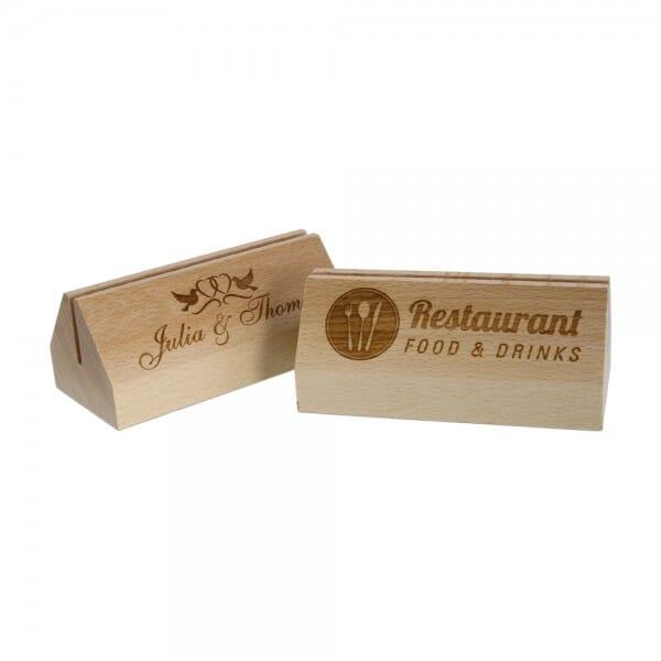 Menükartenhalter aus Holz (Gravurmaß 110x30 mm)
