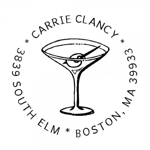 Monogrammstempel rund - Cocktail