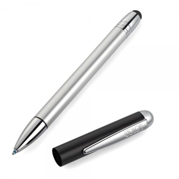 Pen Stamp Alu Magnet Schwarz/Silber Touch (33x8 mm - 3 Zeilen)