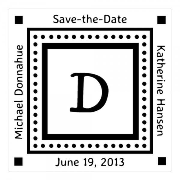 Monogrammstempel quadratisch - Save the date