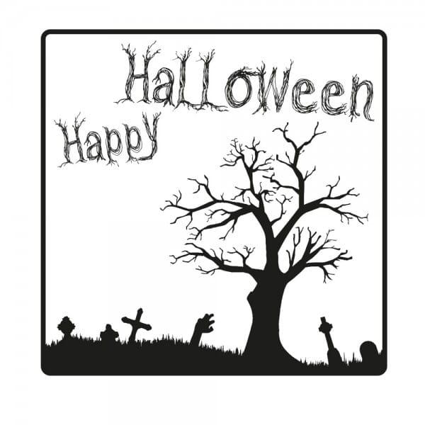Halloween Holzstempel - Friedhof (50x50 mm)