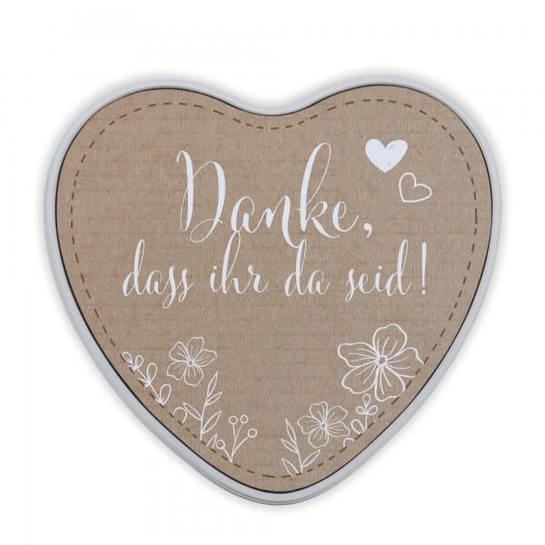"""Keksdose & Geschenkdose in Herzform Hochzeit """"Danke, dass ihr da seid!"""" (Papierdekor)"""